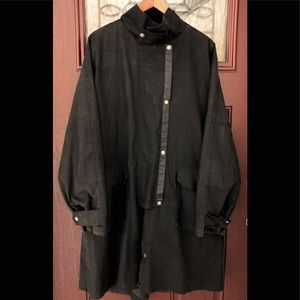 Vtg Highlander Men Black Oilskin Trench Coat Large